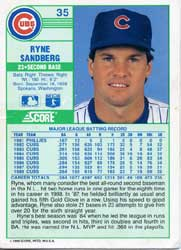 The back of a signed Ryne Sandberg Card